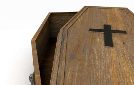 A slightly open empty wooden coffin with a metal crucifix and handles on an isolated white studio background - 3D Render Banque d'images