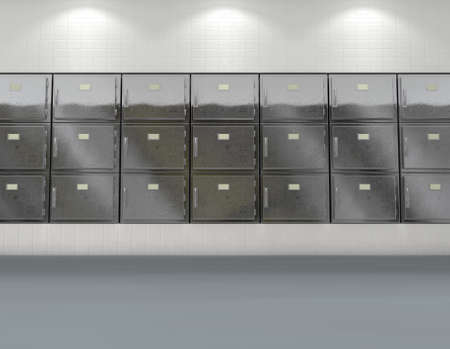 A flat wall of shut fridges in a clean white ward in a mortuary - 3D render