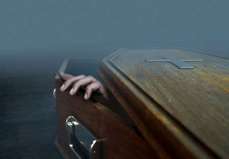 A slightly open empty wooden coffin with a hand reaching out on a dark ominous background - 3D Render