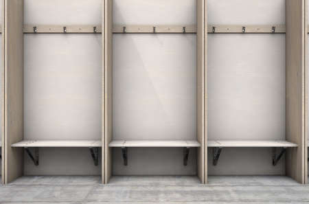 Empty wooden cubicles with a bench and hangers in a rundown sports locker change room - 3D render