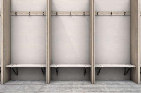 Cubículos de madera vacíos con un banco y perchas en un vestuario deportivo destartalado vestuario - 3D Render