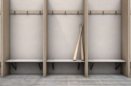 Two baseball bats in a wooden cubicle with a bench and hangers in a sports locker change room - 3D render 스톡 콘텐츠