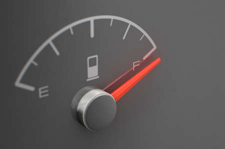A closeup of a petrol gas gage showing the  at full on a dark reflective background with copy space - 3D render Stockfoto