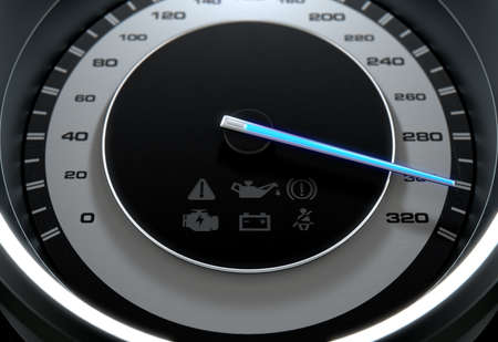 A sporty speedometer with a glowing blue needle pointing towards a high speed on an isolated black background - 3D render Stock Photo