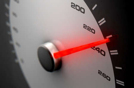 A sporty speedometer with a glowing orange needle pointing towards a high speed on an isolated black background - 3D render Stock Photo