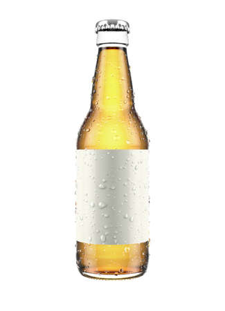 A clear glass beer or cider bottle with a blank label and condensation droplets on an isolated white studio background - 3D render