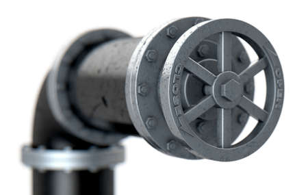 A PVC pipe with metal joins and and a valve on an isolated background - 3D render