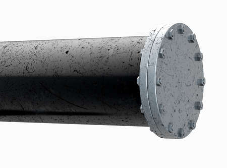 A PVC pipe with metal joins and flanges with bolts on an isolated background - 3D render