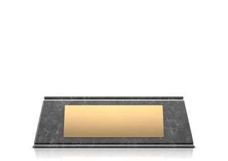 An empty black marble trophy base with a blank golden plaque on an isolated white studio background - 3D render Stock Photo
