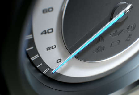 A sporty speedometer with a glowing blue needle pointing towards an slow speed on an isolated black background - 3D render