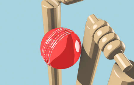 A red leather cricket ball hitting wooden cricket wickets on a blue sky background - 3D render