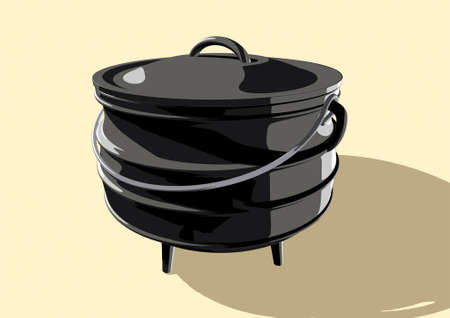 A regular cast iron south african potjie pot with a steel handle and a lid on an isolated background - 3D render