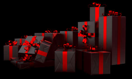 A scattered collection of various sized gift boxes wrapped in a shiny red paper and ribbon and bow on an isolated dark studio background - 3D render