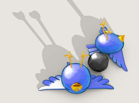 Two cartoon style blue birds apparently dead next to a grey stone with a literal depiction of the saying kill two birds with one stone - 3D render Stock Photo