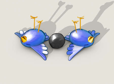 Two cartoon style blue birds apparently dead next to a grey stone with a literal depiction of the saying kill two birds with one stone - 3D render Stockfoto