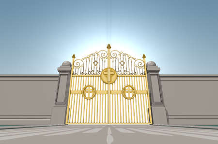 An illustrated depiction of the golden pearly gates of heaven closed shut on a blue sky background - 3D render