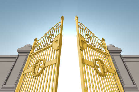 An illustrated depiction of the golden pearly gates of heaven opening on a blue sky background - 3D render