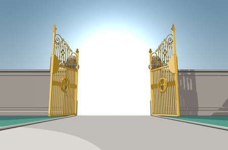 An illustrated depiction of the golden pearly gates of heaven fully opened on a blue sky background - 3D render