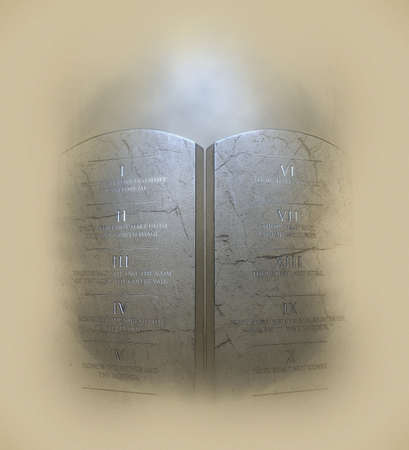 A pencil sketch and watercolor technique of two stone tablets with the ten commandments etched on them lit by a dramatic spotlight on a textured brown paper background