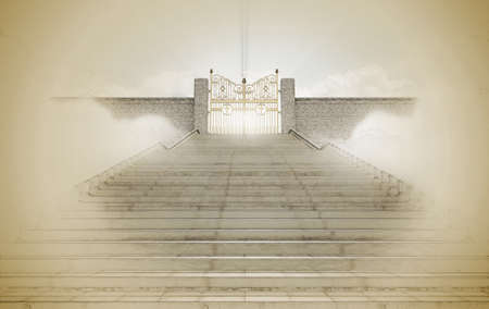 A pencil sketch and watercolor technique concept depicting the majestic pearly gates of heaven surrounded by clouds and the staircase leading up to them on a textured brown paper background