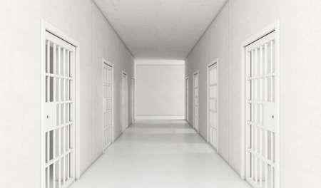 An interior concept a well lit corridor in a modern prison showing shut jail cells doors - 3D render Reklamní fotografie