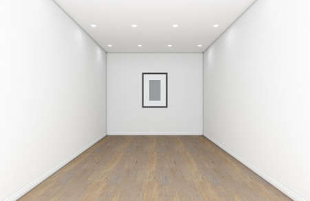 A gallery room interior with white walls and wooden floors and an empty picture frame hanging on the far wall - 3D render