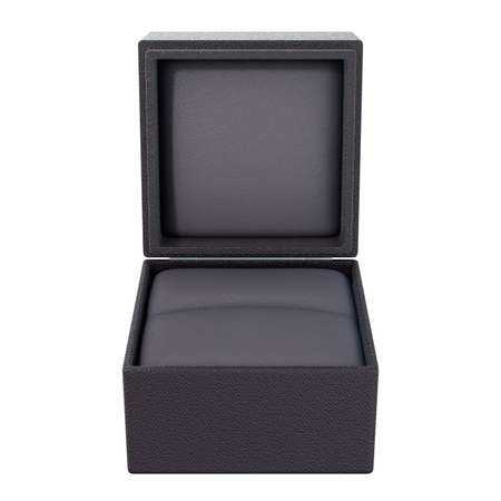 An open empty cube shaped black ring box on an isolated white background - 3D render
