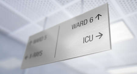 A ceiling mounted hospital directional sign highlighting the way towards the intensive care unit ward - 3D render Standard-Bild