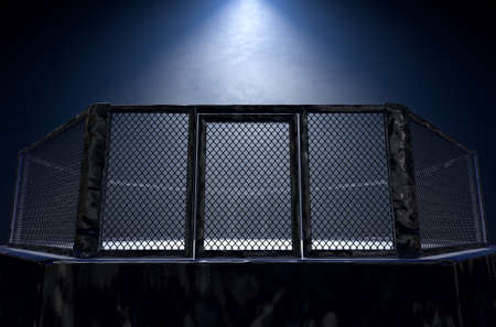 A 3D render of an MMA fight cage arena dressed in black padding spotlit by a single light on an isolated dark background - 3D render 写真素材
