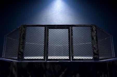 Un rendu 3D d'une arène de cage de combat MMA vêtue d'un rembourrage noir éclairé par une seule lumière sur un fond sombre isolé - rendu 3D