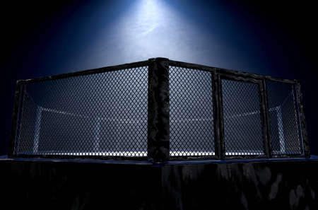 A 3D render of an MMA fight cage arena dressed in black padding spotlit by a single light on an isolated dark background - 3D render Banco de Imagens