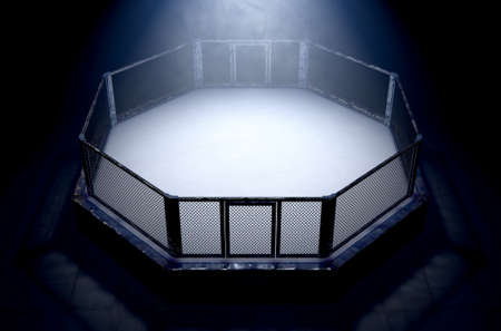 A 3D render of an MMA fight cage arena dressed in black padding spotlit by a single light on an isolated dark background - 3D render Фото со стока