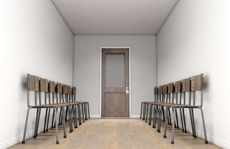 A passage waiting room interior with a shut wooden office door at the far end and chairs lined up on either side  - 3D render
