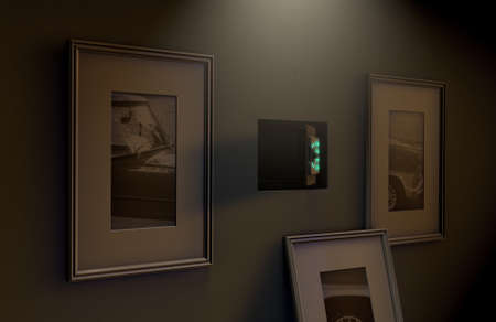 An open hidden wall safe revealed behind a hanging framed picture on a flat wall in a house at night - 3D render Standard-Bild