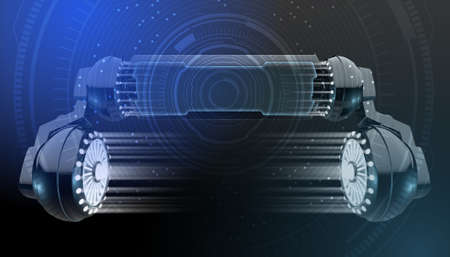 A black futuristic robotic arm device with a screen and a light emitting display area overlaid with a technical data anlysis interface - 3D render