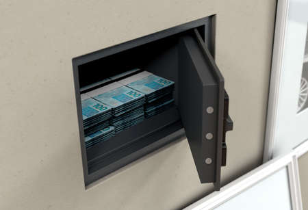 An open hidden wall safe with stacks of banknote piles  revealed behind a hanging framed picture on a wall in a house - 3D render