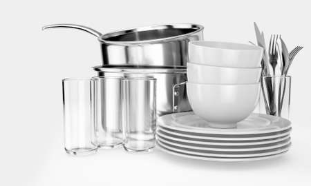 An assortment of stacked clean dishes consisiting of plates; glasses; pots and cutlery on an isolated white background - 3D render