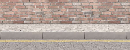 A flat front view of a section of old raised sidewalk and street on a facebrick wall background - 3D render