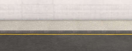 A flat front view of a section of raised sidewalk and street on a plain wall background - 3D render Stock Photo