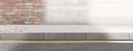 A concept view of a section of raised sidewalk street and wall rejuvenating over time from old to new - 3D render