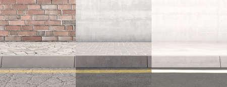 Widok koncepcyjny odcinka podniesionego chodnika i ściany odmładzającej się z biegiem czasu od starego do nowego - renderowanie 3D Zdjęcie Seryjne