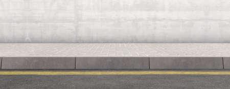 Una vista frontal plana de una sección de acera elevada y calle sobre un fondo de pared liso - 3D render