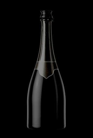 A black bottle of champagne showing the open top and torn foil on an isolated background - 3D render