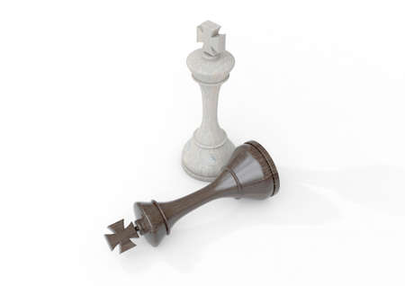 A white wooden chess king standing over the fallen black king on an isolated background - 3D render