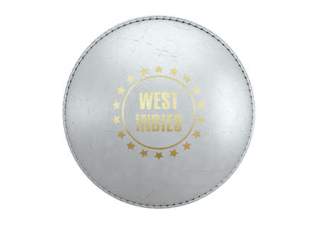 A side view of a white cricket ball with a gold foil branding area and the country name of west indies on an isolated background - 3D render