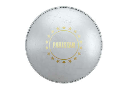 A side view of a white cricket ball with a gold foil branding area and the country name of pakistan on an isolated background - 3D render Stock Photo
