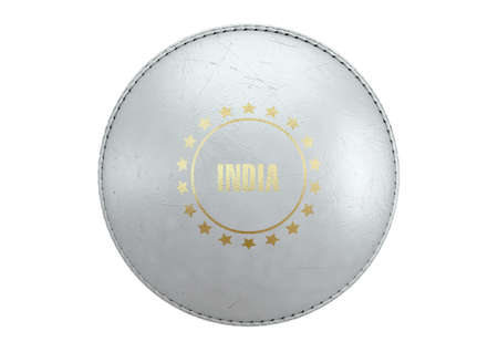 A side view of a white cricket ball with a gold foil branding area and the country name of india on an isolated background - 3D render