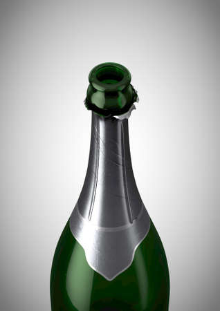 A regular green bottle of champagne showing the open top and torn silver foil on an isolated background - 3D render