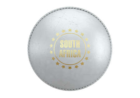 A side view of a white cricket ball with a gold foil branding area and the country name of south africa on an isolated background - 3D render