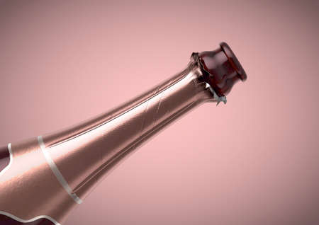 A pink bottle of champagne showing the open top and torn foil on an isolated pink background - 3D render